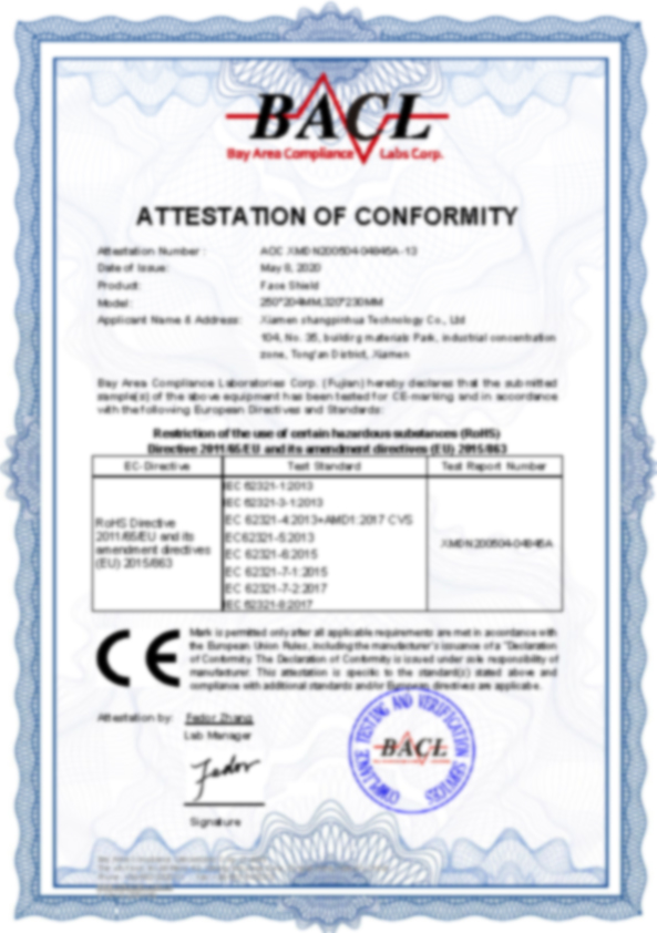 Ce certification for face shield